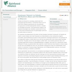 Gemeinsames Statement von Fairtrade, SAN/Rainforest Alliance und UTZ CERTIFIED