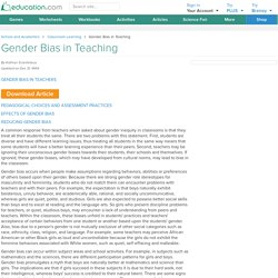 Gender Bias in Teaching