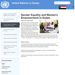 Gender Equality and Women's Empowerment in Sudan