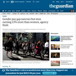 Gender pay gap narrows but men earning 23% more than women, agency finds