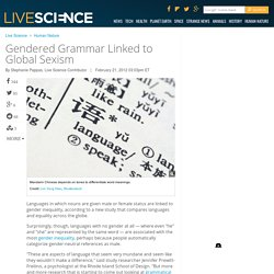 Gendered Grammar Linked to Global Sexism
