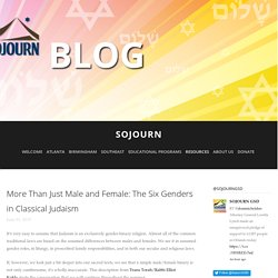 More Than Just Male and Female: The Six Genders in Classical Judaism — SOJOURN