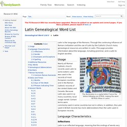 Latin Genealogical Word List Genealogy - FamilySearch Wiki