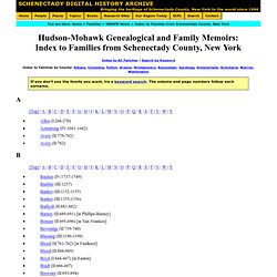 Hudson-Mohawk Genealogical and Family Memoirs: Index to Families from Schenectady County, New York