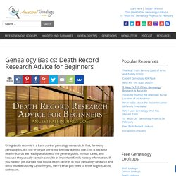 Genealogy Basics: Death Record Research Advice for Beginners — AncestralFindings.com