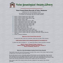 Tulsa Genealogy Society-Funeral Home Index