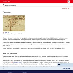 Genealogy - State Archive of Bern - Canton of Bern