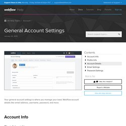 General Account Settings - Webflow Help