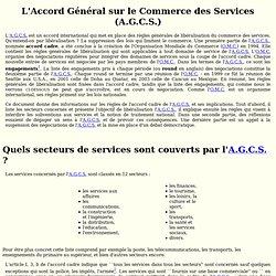 L'Accord Général sur le Commerce des Services (A.G.C.S.)
