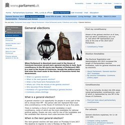 Parliament UK- What is a general election?