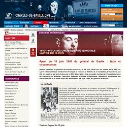 Appel du 18 juin 1940 du général de Gaulle : texte et circonstances