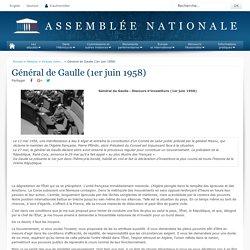 Général de Gaulle (1er juin 1958) - Histoire - Grands moments d'éloquence