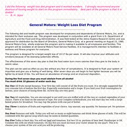 General Motors: Weight Loss Diet Program