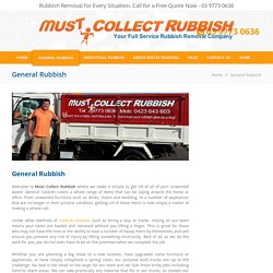 General Rubbish Removal Melbourne