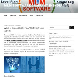 What Is General MLM Plan? MLM Software in Delhi
