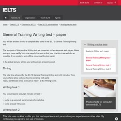 General Training Writing test – paper