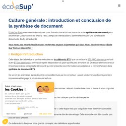 Culture générale BTS : intro / conclusion synthèse de document
