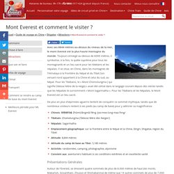 Mont Everest, Généralité et Conseils Pour la Visite, comment le visiter - VoyagesChine.com