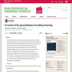 A review of the generalization of auditory learning