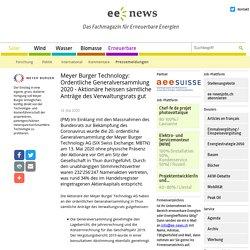 Meyer Burger Technology: Ordentliche Generalversammlung 2020 - Aktionäre heissen sämtliche Anträge des Verwaltungsrats gut (ee-news.ch)