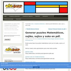 Generar puzzles Matemáticos, sujiko, sujico y suko en pdf. – Olesur