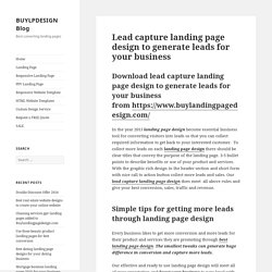 Lead capture landing page design to generate leads for your business
