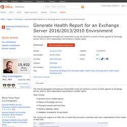 Script Generate Health Report for an Exchange Server 2016/2013/2010 Environment