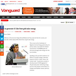 FG to generate $7.5bn from grid solar energy