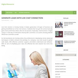 Generate Leads With Live Chat Connection