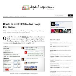 RSS Feeds for Google Plus Profiles and Search Results