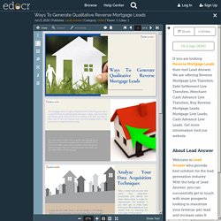 Ways To Generate Qualitative Reverse Mortgage Leads