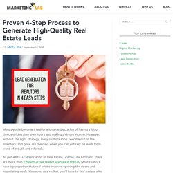 4 Step to Generate High Quality Real Estate Leads - Marketing Lab