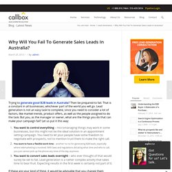 Why Will You Fail To Generate Sales Leads In Australia?