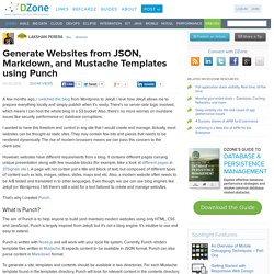 Generate Websites from JSON, Markdown, and Mustache Templates using Punch