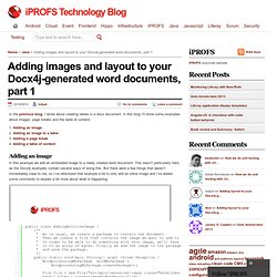 Adding images and layout to your Docx4j-generated word documents, part 1