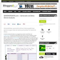 GENERATEDATA.com - Generador de Datos Online Gratuito