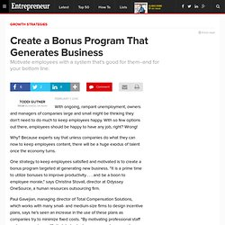 Create a Bonus Program That Generates Business