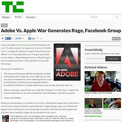 Adobe Vs. Apple War Generates Rage, Facebook Group