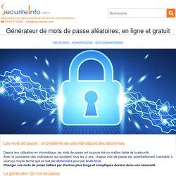 Générateur de mots de passe aléatoires, en ligne et gratuit