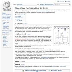 Générateur électrostatique de Kelvin