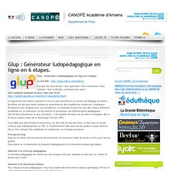 CDDP de l'Oise - Glup : Générateur ludopédagogique en ligne en 6 étapes.