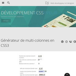 Generateur de multi-colonnes en CSS3 - Design et programmation web2 - Dji