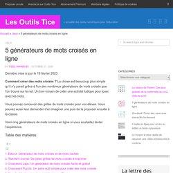 5 générateurs de mots croisés en ligne - Les Outils Tice
