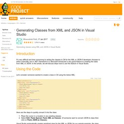 Generating Classes from XML and JSON in Visual Studio - CodeProject