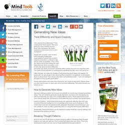 Generating New Ideas - Creativity tools from MindTools.com