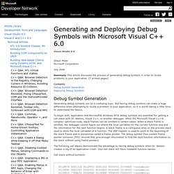 Generating and Deploying Debug Symbols with Microsoft Visual C++ 6.0
