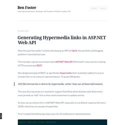 Generating Hypermedia links in ASP.NET Web API - Ben Foster