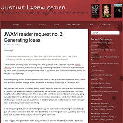 JWAM reader request no. 2: Generating ideas