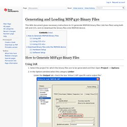 Generating and Loading MSP430 Binary Files