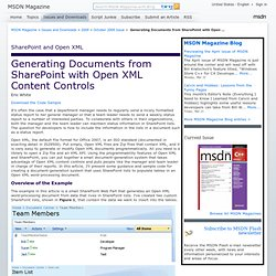Generating Documents from SharePoint with Open XML Content Controls